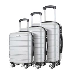 Σετ 3 Βαλίτσες SHOWKOO Ασημί HT002