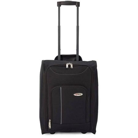 Βαλίτσα Καμπίνας υφασμάτινη αναδιπλούμενη μαύρο με γκρι με 2 ρόδες
